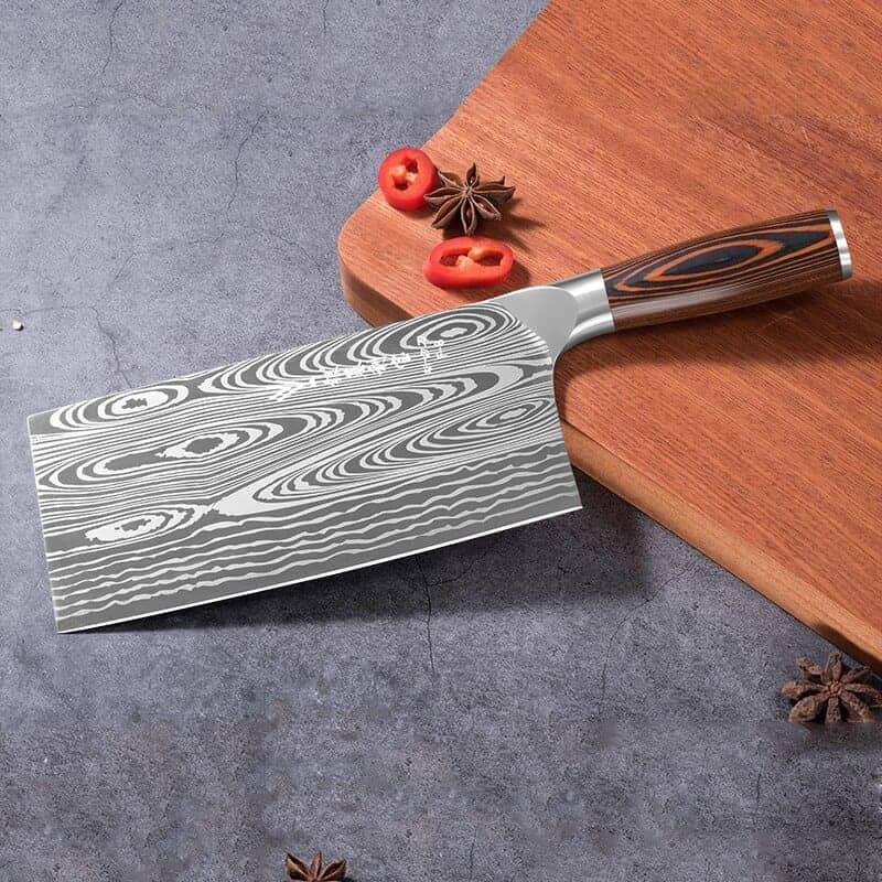 A knife sitting on top of a rug